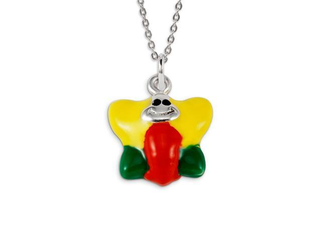 .925 Sterling Silver Yellow Red Green Butterfly Pendant