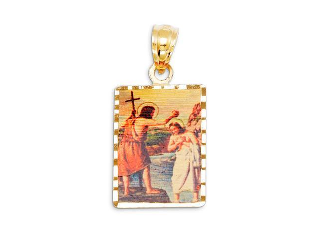 New 14k Yellow Gold Jesus Baptism Laser Print Pendant