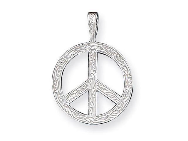 925 Sterling Silver Floral Peace Sign Charm Pendant