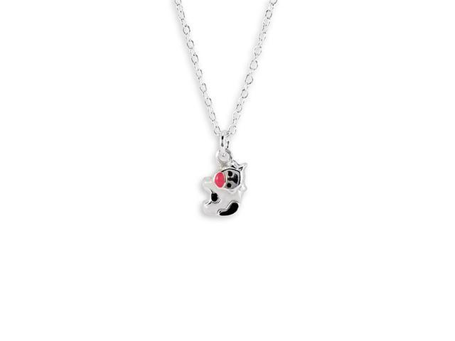 New 925 Sterling Silver Cow Enamel Pendant Necklace