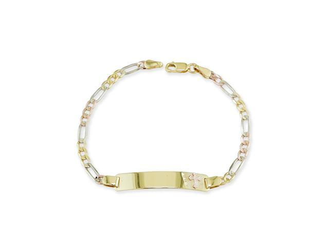 14k Tri Color Gold Cross ID Figaro Chain Bracelet