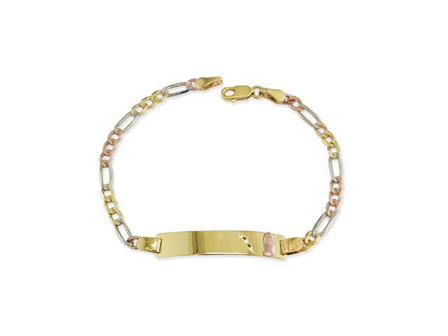 14k Tri Color Virgin Mary ID Figaro Chain Bracelet