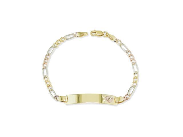 14k Tri Color Gold Heart ID Figaro Chain Bracelet