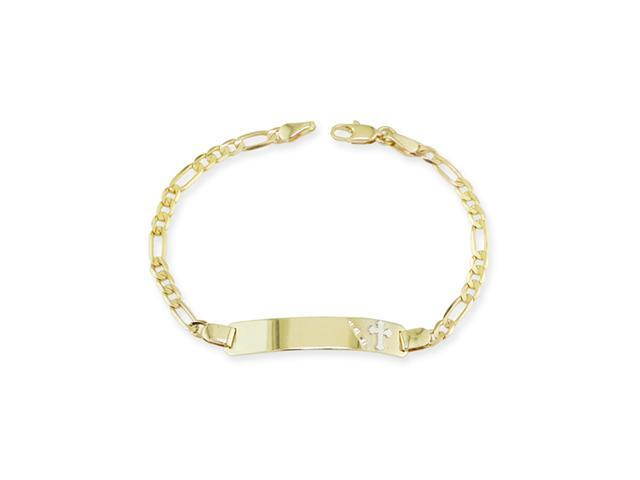 14k Yellow White Gold Two Tone Cross ID Chain Bracelet