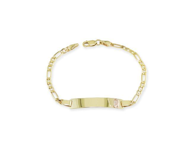 14k Yellow Rose Two Tone Gold Mary ID Chain Bracelet