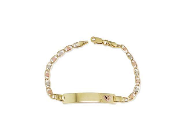 14k Tri Color Gold Heart Mariner ID Chain Bracelet