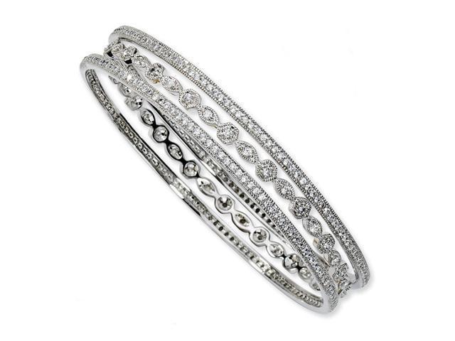 Solid 925 Sterling Silver CZ Three Bangle Bracelet Set