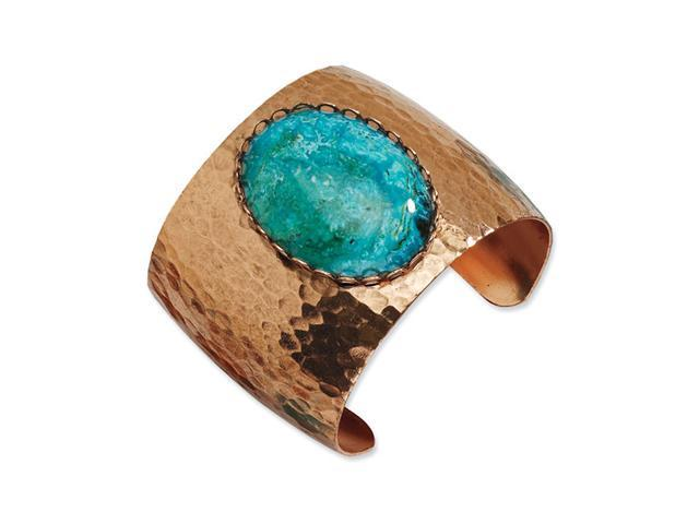 Copper-tone Aqua Stone Textured Cuff Bangle