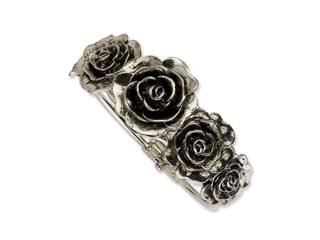Silver-tone Antiqued Flowers Hinged Cuff Bangle
