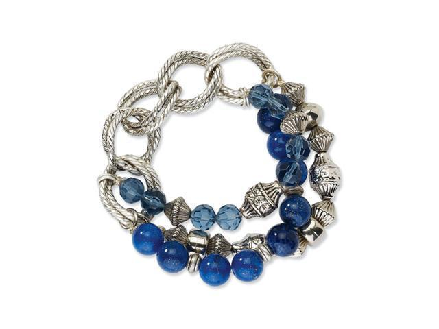 Silver-tone Blue Bead & Crystal Stretch Bracelet