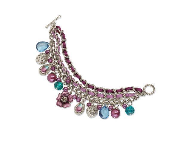 Purple & Teal Enamel w/ Purple Beads 7.5in Bracelet