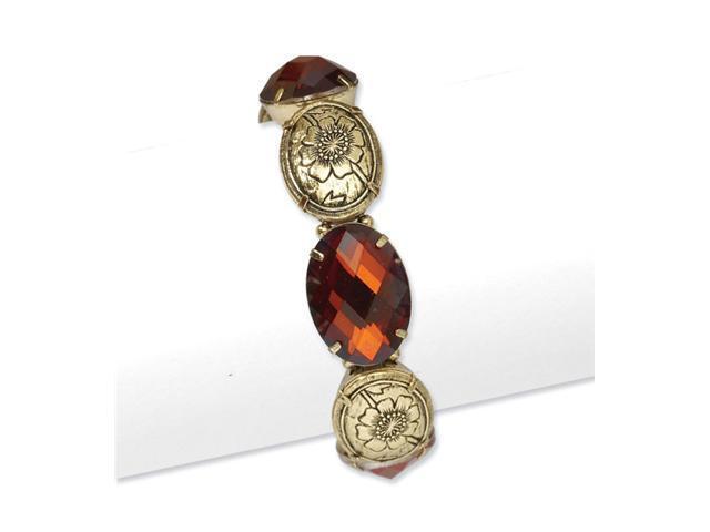 Brass-tone Smokey Brown Crystal Stretch Bracelet