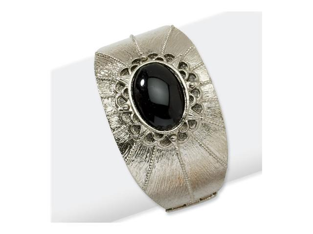 Silver-tone Black Crystal Hinged Cuff Bangle