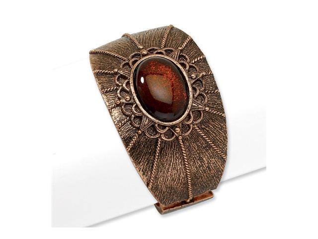Copper-tone Smokey Brown Crystal Hinged Cuff Bangle