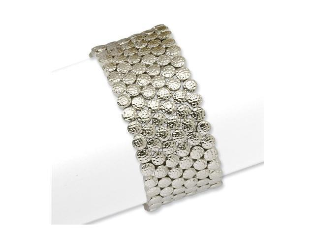 Silver-tone Textured Circles Stretch Bracelet