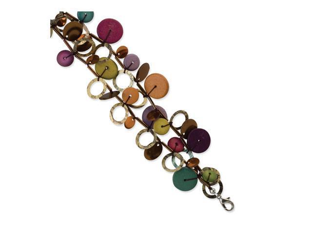 Multicolored Hamba Wood, Bead & Sequin 7in Bracelet