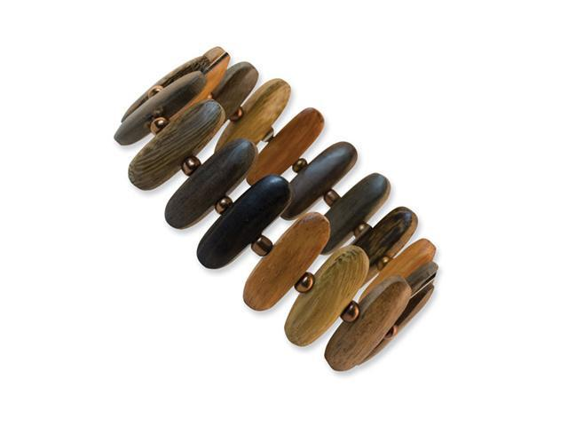 Hamba Wood & Acrylic Bead Stretch Bracelet