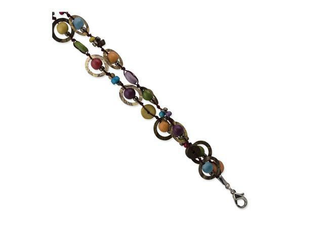 Multicolored Hamba Wood/Sequin/Acrylic Bead Bracelet