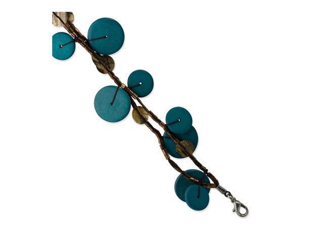 Silver-tone Turquoise Hamba Wood&Sequin 7.25in Bracelet