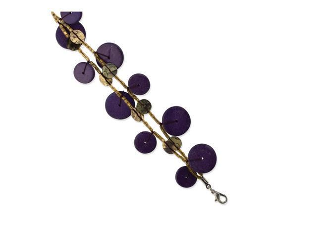 Purple Hamba Wood, Acrylic Bead & Sequin 7in Bracelet
