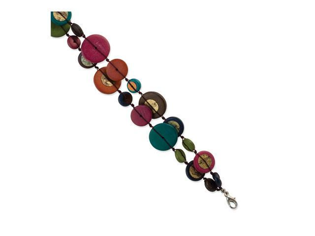 Silver-tone Multicolored Hamba Wood & Sequin Bracelet