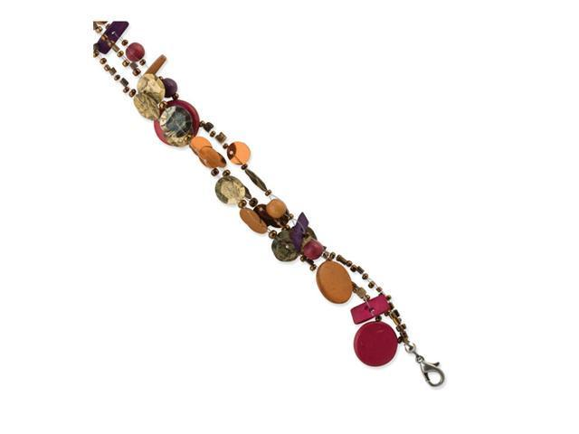 Multicolor Hamba Wood, Coconut & Sequin 7.5in Bracelet