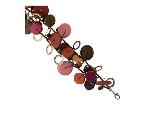 Silver-tone Multicolored Hamba Wood & Sequin Bracelet
