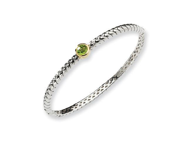 Sterling Silver w/14k .97Peridot Bangle Bracelet