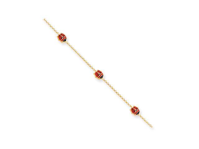 "14k Yellow Gold Children""s Enameled Ladybug Bracelet"