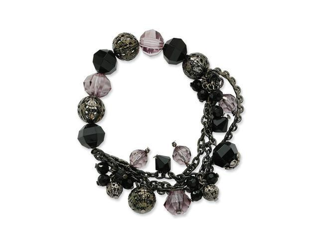 Jet/Black & Smokey Crystal Beaded Stretch Bracelet