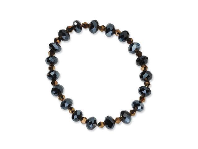 Black & Brown Crystal Stretch Bracelet