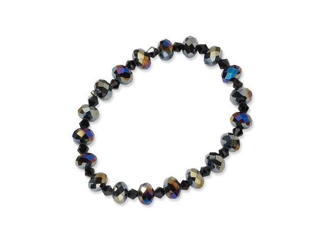Aurora Borealis Black Crystal Beaded Stetch Bracelet