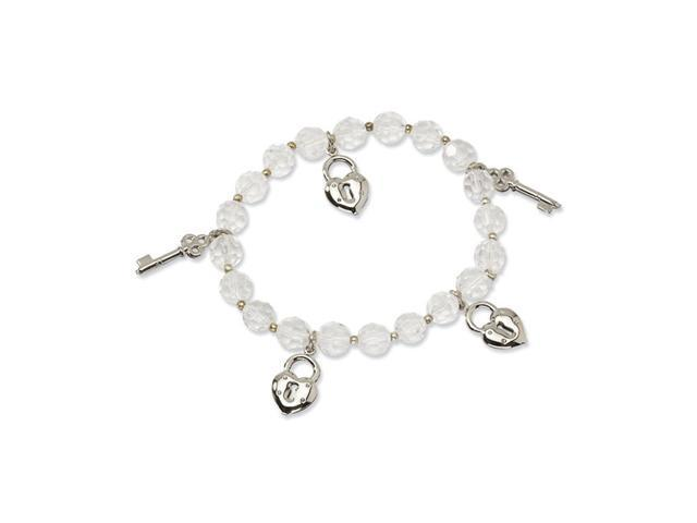 Charms and Beaded Clear Crystal Stretch Bracelet