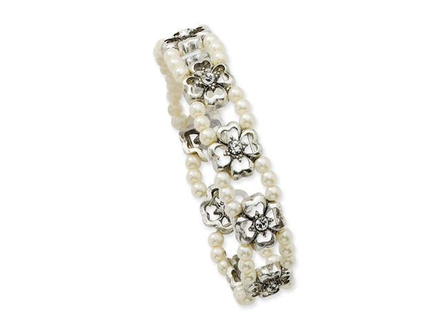 Crystal/Cultura Pearl Double Strand Stretch Bracelet