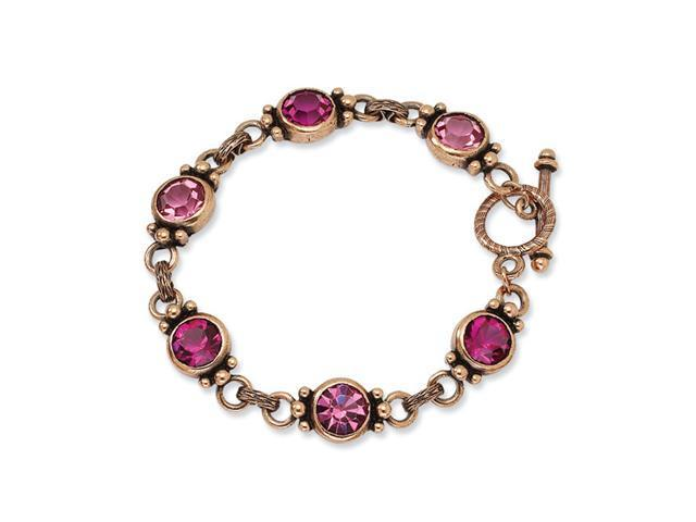 Copper-tone Pink Crystal 7in Toggle Bracelet