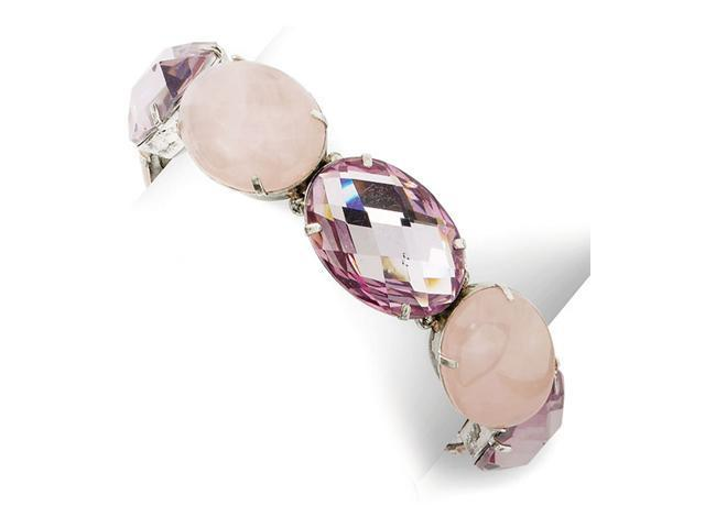 Faceted Light Rose Crystal/Rose Quartz Stretch Bracelet
