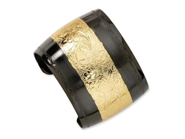 Gold-tone and Black-plated Floral Cuff Bangle