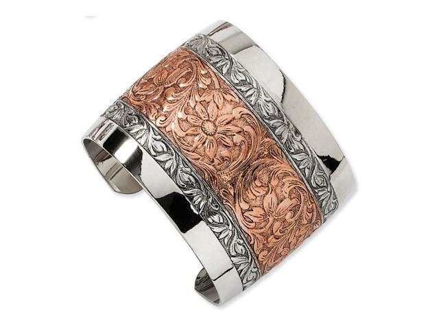 Rose-tone and Silver-tone Floral Cuff Bangle