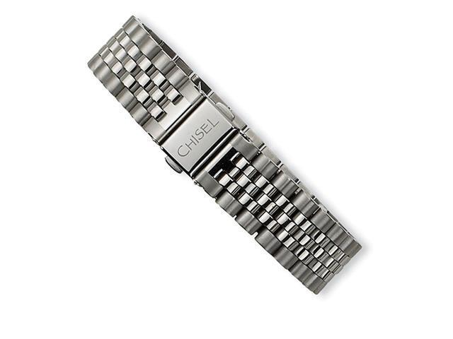 Wide Brushed Polished Stainless Steel Band Bracelet