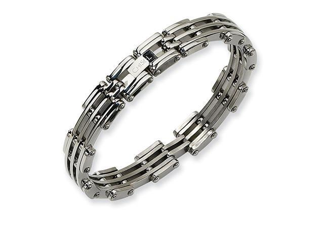 Polished Stainless Steel Bikers Link Cuff Band Bracelet