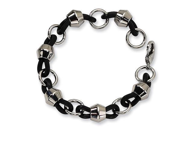 Mens Chunky Black Rubber Stainless Steel Chain Bracelet