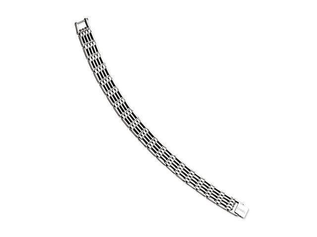 Mens Wide Polished Bar Link Stainless Steel Bracelet