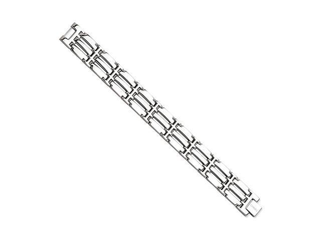 Triple Bar Link Solid Polished Stainless Steel Bracelet