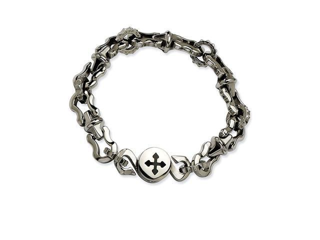 Mens Chunky Charm Cross Chain Stainless Steel Bracelet