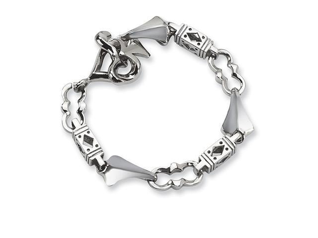 Antiqued Polished Stainless Steel Chunky Charm Bracelet