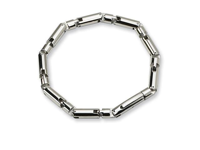 Mens Tubular Polished Stainless Steel Link Bracelet
