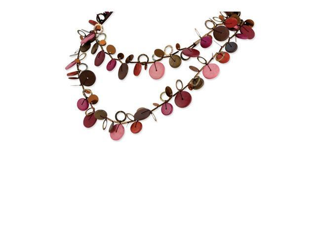 Multicolored Hamba Wood & Sequin 48in Slip-on Necklace