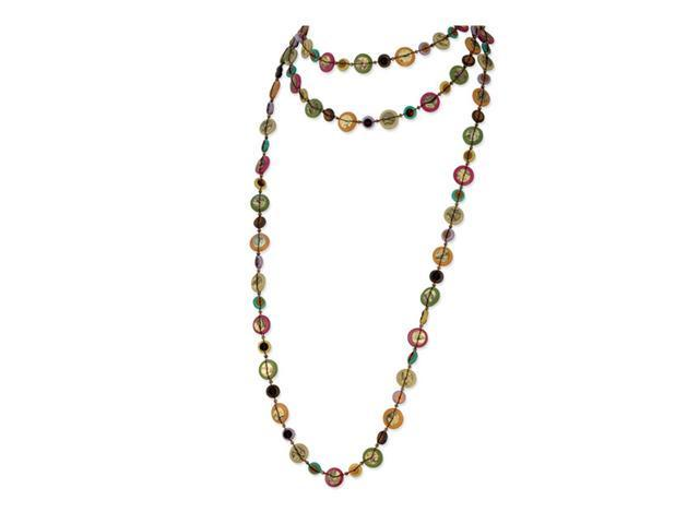 Natural Hamba Wood Acrylic Bead Sequin Slip-on Necklace