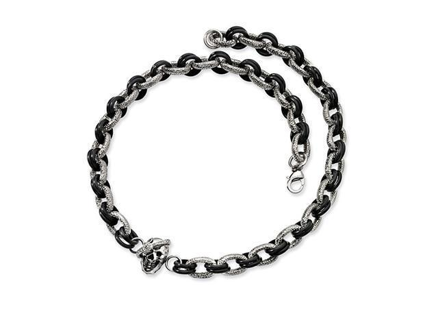 Mens Fancy Round Link Rubber Stainless Steel Necklace