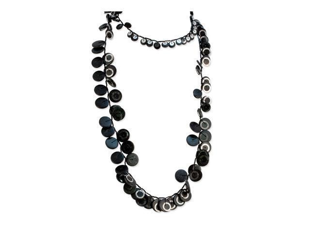 Long Black Hamba Wood Sequin Slip-on Fashion Necklace